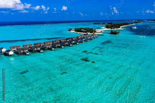 Aerial view, Lagoon of the Maldives island Maadhoo, South Male Atoll, Maldives