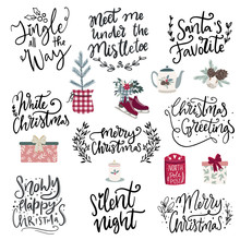Set Of Hand Drawn Vector Illustrations And Hand Written Lettering Phrases About Christmas Holidays. Winter Season And Merry Christmas Celebration Clipart And Letterng Collection For Cards,posters,sale