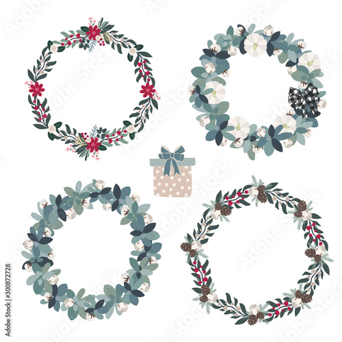 Foto  Set of christmas floral wreaths in modern farmhouse natural style, winter season flower arrangement for cards, posters, tags, banners decoration in scandinavian style