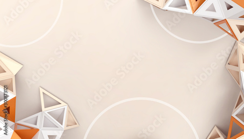 Abstract low-poly Triangular  Geometric Technology background structure concept on  yellow pastel background - 3d rendering - Minimal Architecture Style Dynamic