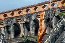 Elephant Statues Around Base O...