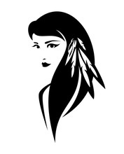Beautiful Young Native American Indian Woman With Feathers In Hair - Tribal Style Beauty Black And White Vector Portrait