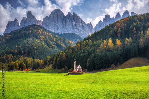 Obraz na plátne  Scenery of Dolomites with the St
