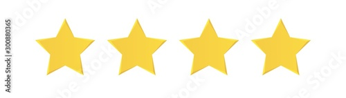 Cuadros en Lienzo  Four stars  rating review flat icon for apps or websites
