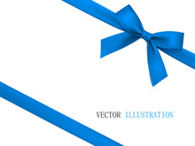 Vector Blue Gift Bow With Diag...