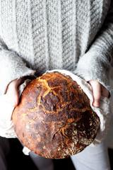Freshly home made baked sourdough bread
