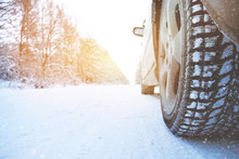 Car Wheel With Winter Tire On ...