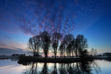 Autumn Sunset Over Trees, River Nene Valley, Castor Village, Peterborough, Cambridgeshire; England; Britain; UK