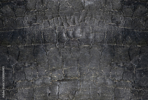 Door stickers Firewood texture Background with burnt wood texture. Black charred wood background.