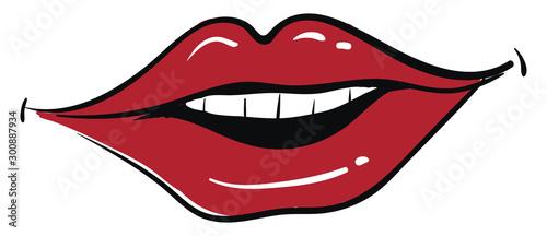 Obraz Red lips smiling, illustration, vector on white background. - fototapety do salonu