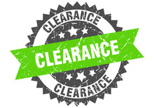 Clearance Grunge Stamp With Green Band. Clearance