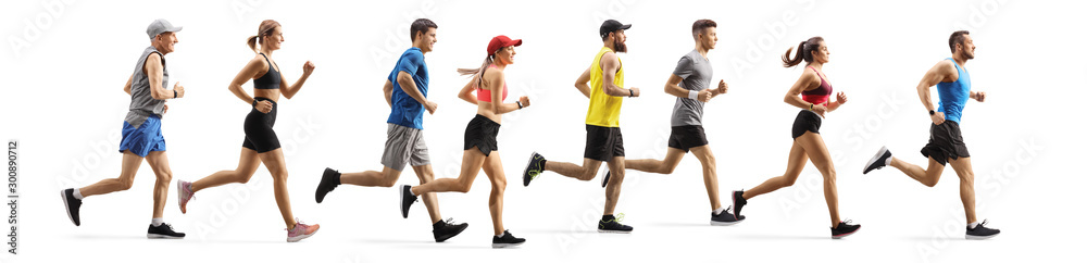 Fotografía Men and women running a marathon