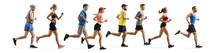 Men And Women Running A Marathon