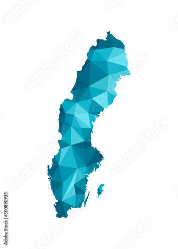 Photo Vector isolated illustration icon with simplified blue silhouette of Sweden map
