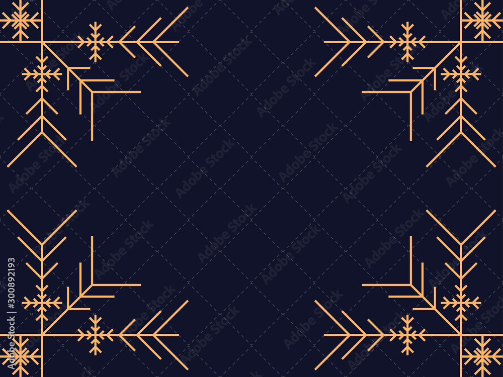 Fototapeta Art deco frame with snowflakes. Vintage linear border.Style of the 1920s and 1930s. Vector illustration