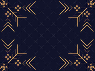 Art deco frame with snowflakes. Vintage linear border.Style of the 1920s and 1930s. Vector illustration