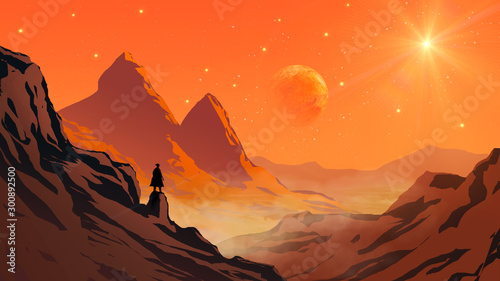 Obraz Cowboy silhouette standing on mountain rock valley landscape with planet and star on sky. Elements furnished to NASA - fototapety do salonu
