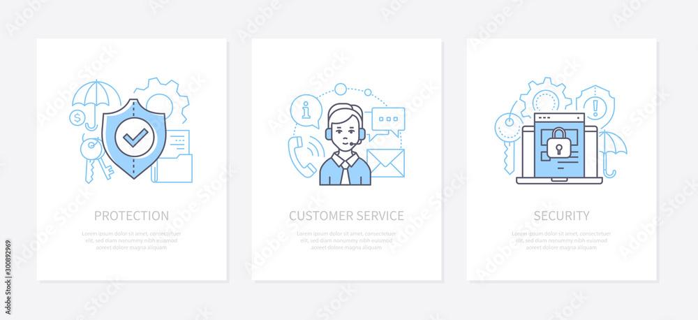 Fototapeta Data protection - line design style icons set