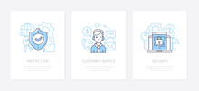 Data Protection - Line Design Style Icons Set
