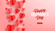 Valentine's Day Sale Web Banner. Holiday Banner With Realistic Red And Pink Hearts In Paper Art Style. Festive Vector Illustration. Seasonal Discount Offer.