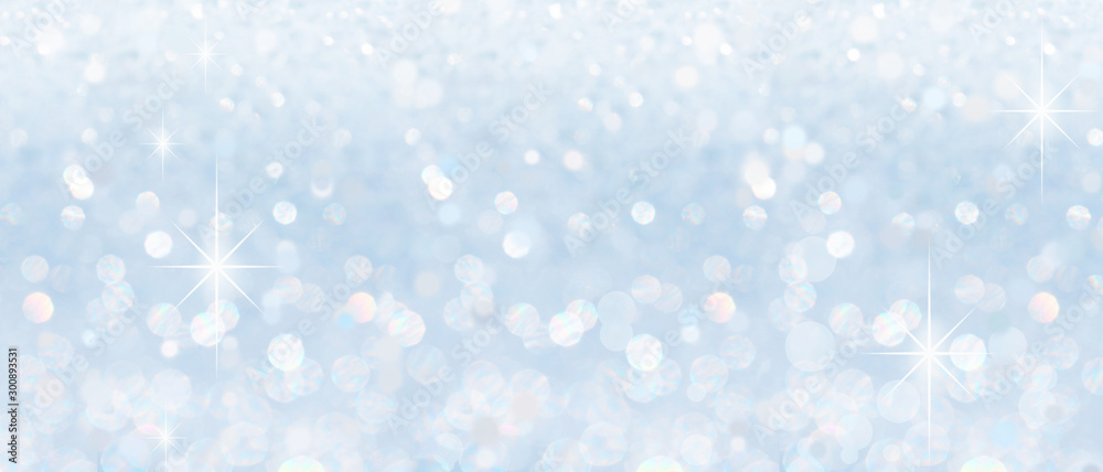 Fototapety, obrazy: Winter christmas sparkling shiny silver bright glittering abstract bokeh background