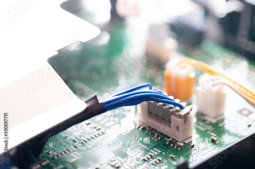 Connector or Socket and cable on the motherboard or electronic board. part of ink-jet printer.
