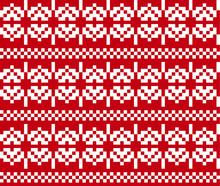 Christmas Snowflakes Fair Isle Seamless Pattern Background In Vector - Suitable For Website Resources, Graphics, Print Designs, Fashion Textiles, Knitwear And Etc.