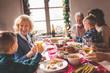 Family Christmas dinner toast