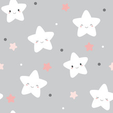 Seamless Cute Smiley White Stars Pattern On Pastel Grey Background.