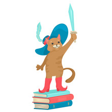 Cat In A Hat And Shoes. Stands On The Books And Holds The Sword. Fairy-tale Character.