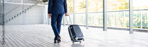 panoramic shot of businessman in formal wear holding suitcase Fototapet