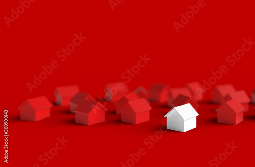 Fotografie, Obraz  Group of blurred house isolated on red background