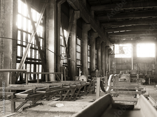 Production crisis,view of an abandoned factory shop.