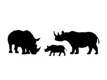 Rhino Family. Rhinoceros Silho...