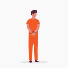 Man In Orange Prison Jumpsuit Over White Background. Vector Flat Illustration.