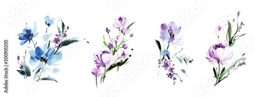 Flowers watercolor illustration.Manual composition.Big Set watercolor elements. #300901305