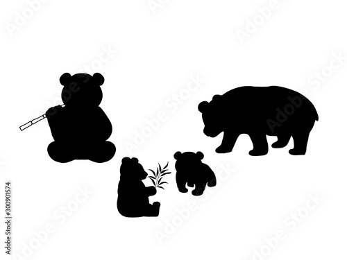 Papel de parede Pandas family. Silhouettes of animals