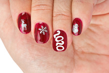 Finger Nail With Christmas Pat...