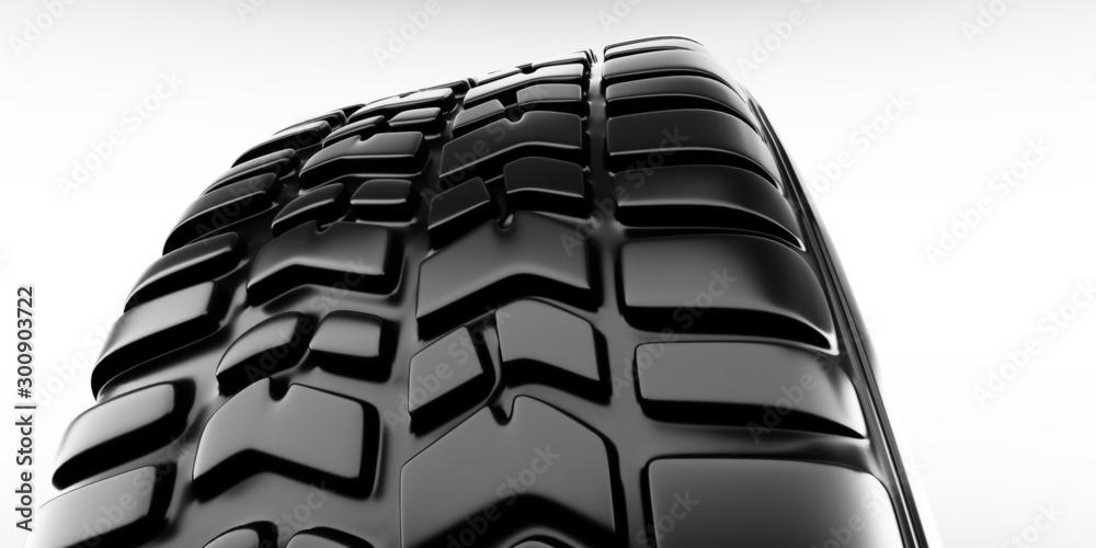 Fototapety, obrazy: Wheel close-up on tire. White background