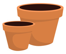 Flower Pot With Dirt, Illustration, Vector On White Background.