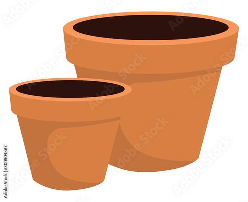 Obraz na płótnie Flower pot with dirt, illustration, vector on white background.