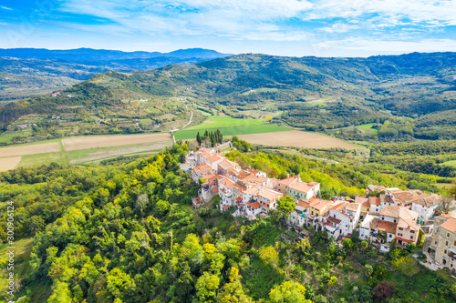 Recess Fitting Mediterranean Europe Old town of Motovun on the hill, beautiful architecture in Istria, Croatia, aerial view from drone