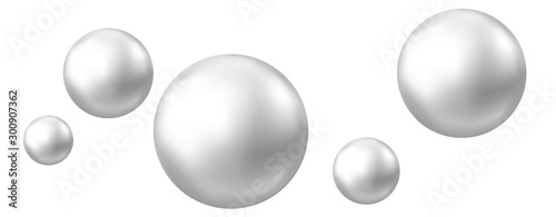 Cuadros en Lienzo Realistic natural pearl isolated on white background.