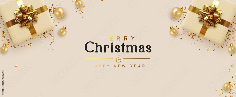 Fototapeta Holiday banner Merry Christmas and Happy New Year. Xmas design with realistic objects, beige gift box, golden balls, stast tinsel, glitter gold confetti. Festive horizontal poster, flat top view