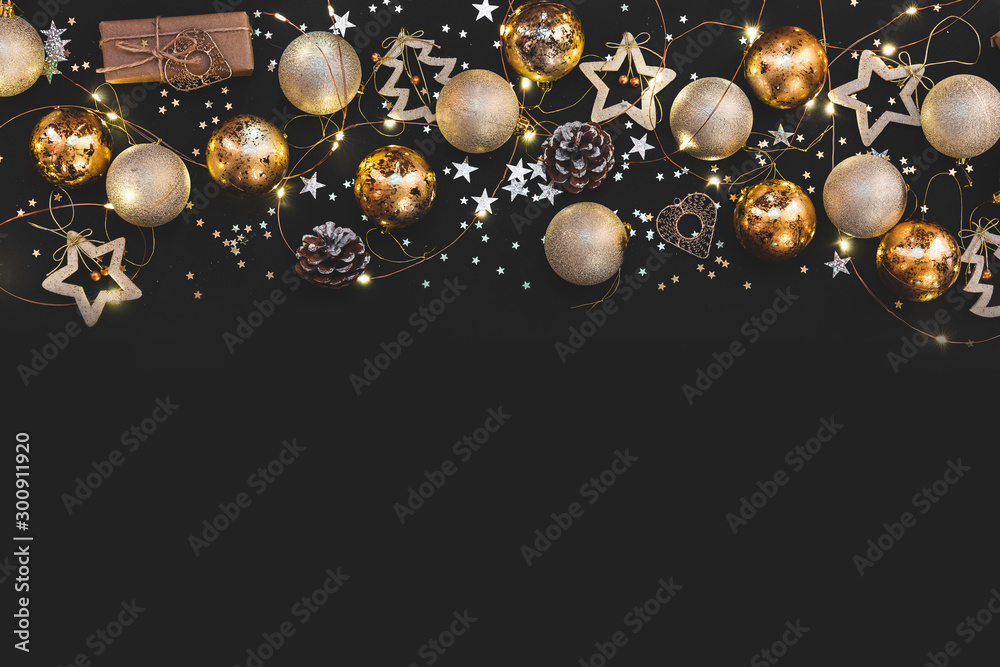 Fototapety, obrazy: New year 2020. Merry Christmas and Happy Holidays greeting card. Christmas composition. Gold and silver decorations on black background. Winter, new year concept. Flat lay, top view