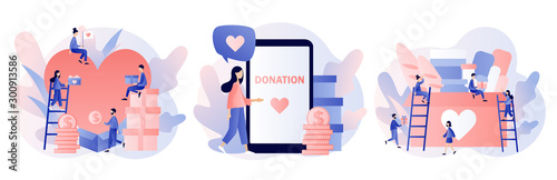 Fotomural  Donation and volunteers work concept
