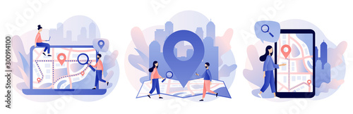 Fototapeta GPS navigation concept. Tiny people search on location. Online map. We have moved. Modern flat cartoon style. Vector illustration obraz