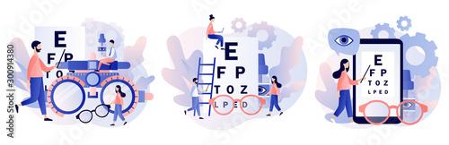Obraz Ophthalmology concept. Eye check up. Ophthalmologist checks patient sight. Modern flat cartoon style. Vector illustration - fototapety do salonu