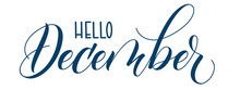 Handwritten Brush Calligraphy Hello December Isolated On White. Vector Illustration.