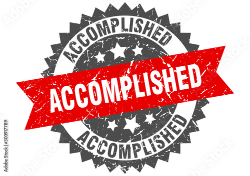 accomplished grunge stamp with red band. accomplished Canvas Print